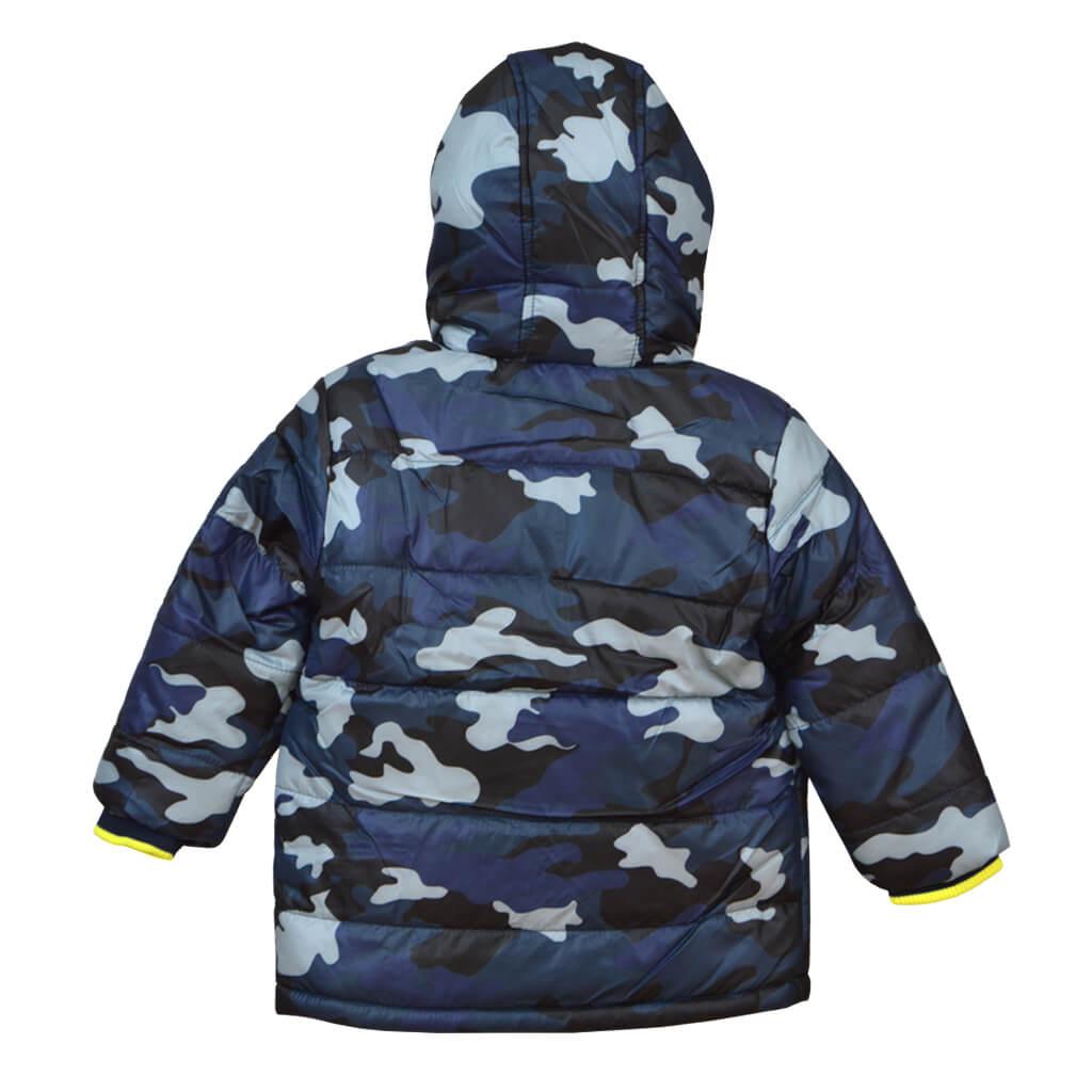 Детско зимно яке с качулка милитъри стил в тъмно синьо