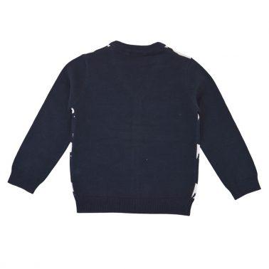 Детска жилетка фино плетиво с мечки в тъмно синьо