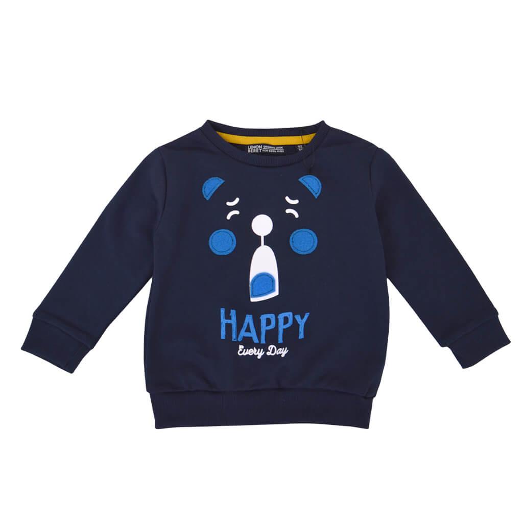 Детска плътна блуза с апликация с мече в тъмно синьо