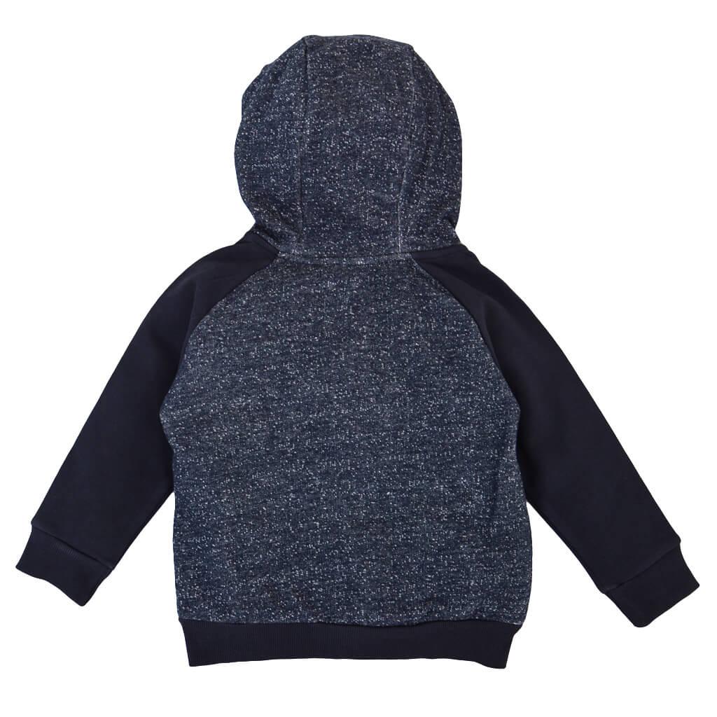 Детски ватиран суитшърт с цип и качулка в тъмно сиво