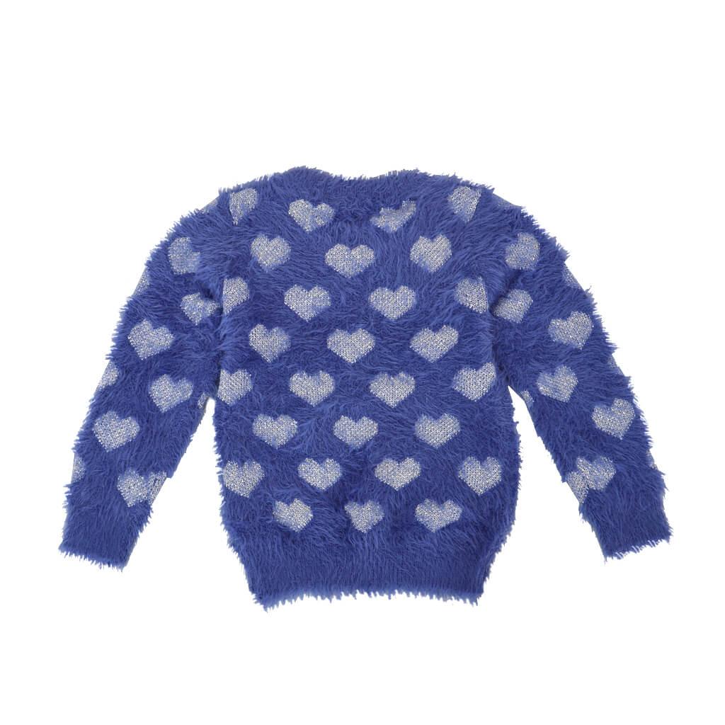 Пухкав детски пуловер с блестящи сърца лилав