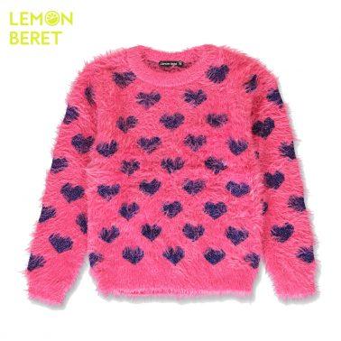 Пухкав детски пуловер с блестящи сърца розов