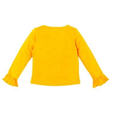 Детска памучна блуза с бродерия и мъниста в жълто