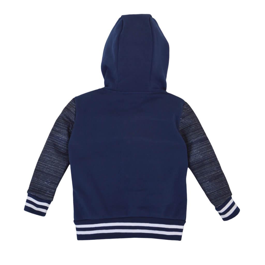 Детски ватиран суитшърт с качулка и платки в тъмно синьо