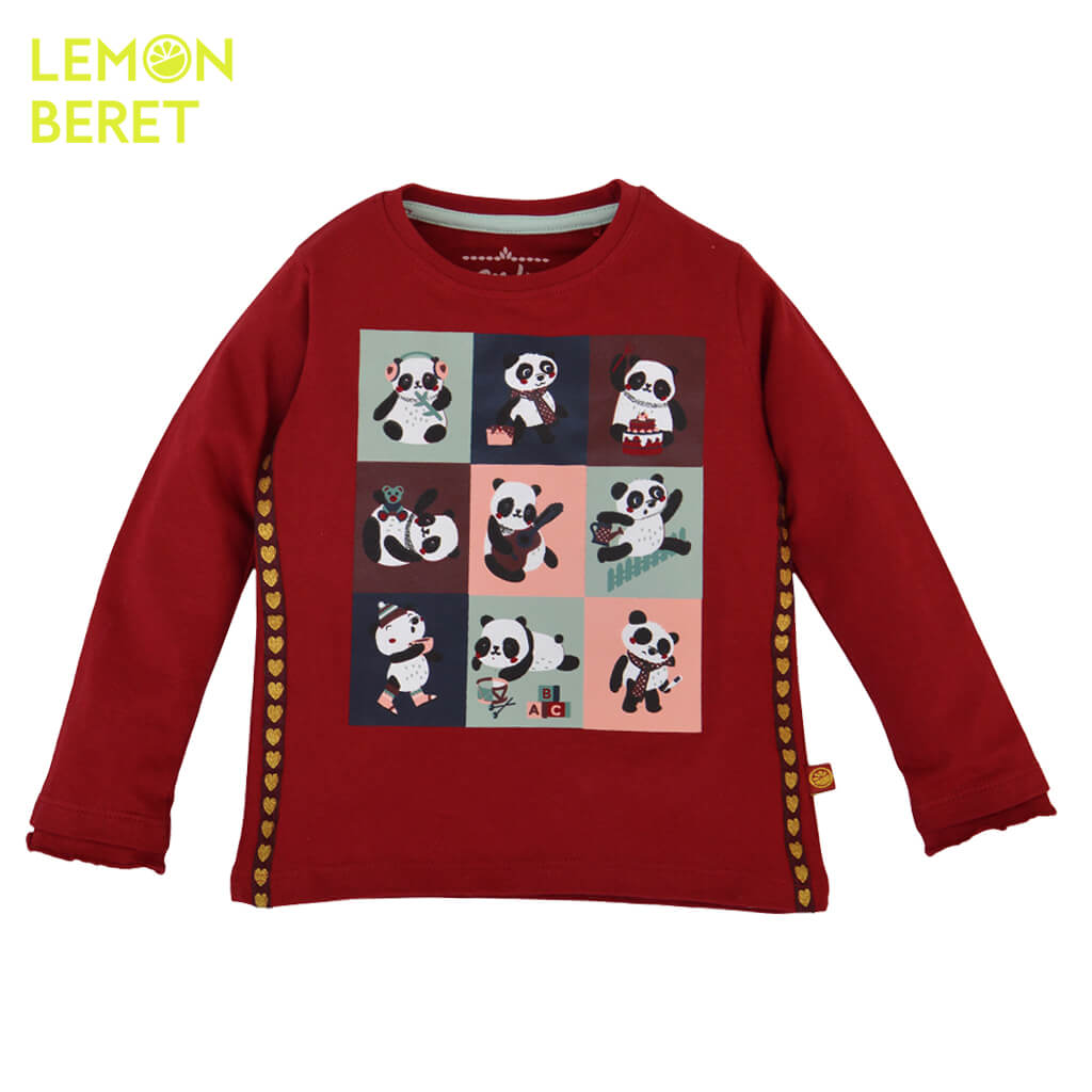 Детска памучна блуза с дълги ръкави и щампа с панди в бордо