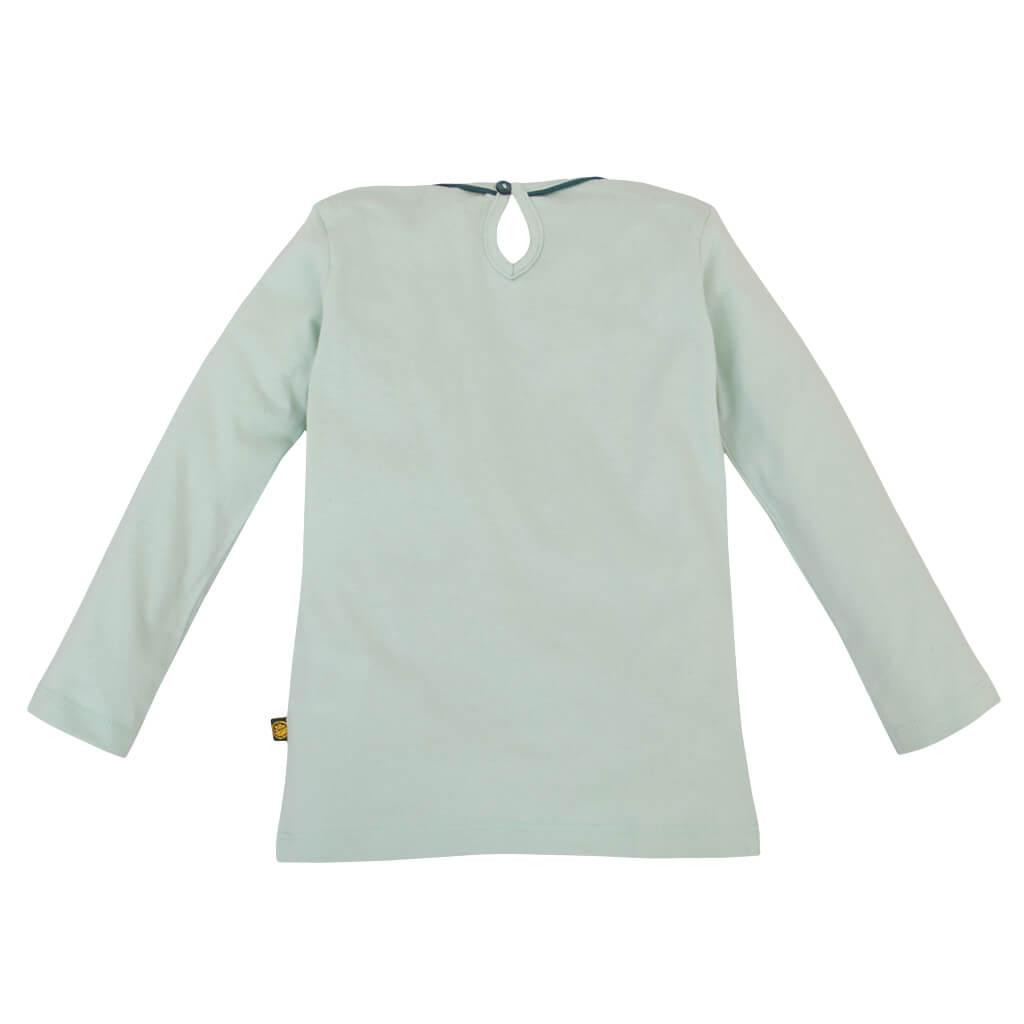Мека памучна блузка с панда в зелено