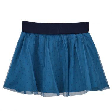 Детска пола от тюл с ластик на точки цвят син петрол