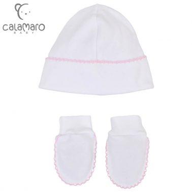 Бебешки комплект шапка и ръкавици в розов цвят