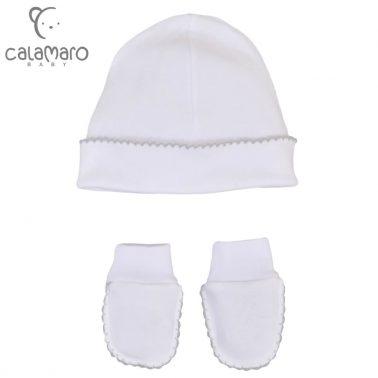 Бебешки комплект шапка и ръкавици в сив цвят