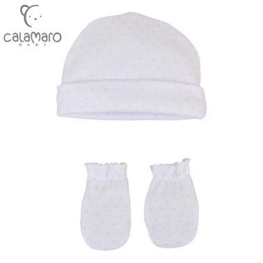 Бебешки комплект шапка и ръкавички на точици в светло синьо