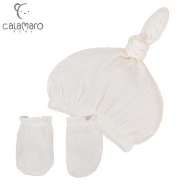 Комплект бебешка шапка с възел и ръкавички в екрю
