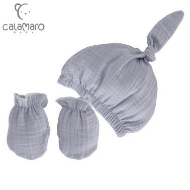 Комплект бебешка шапка с възел и ръкавички в сиво
