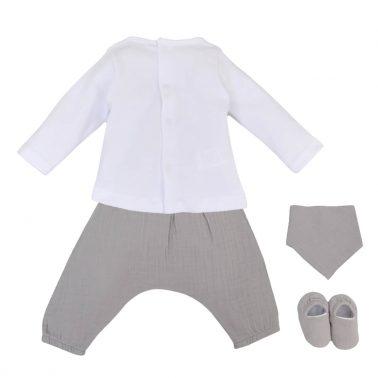 Луксозен бебешки комплект за новородено с 4 части в сиво