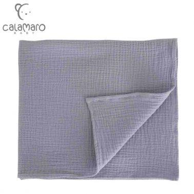 Бебешка памучна пелена от крепон 125 х 120 см сива