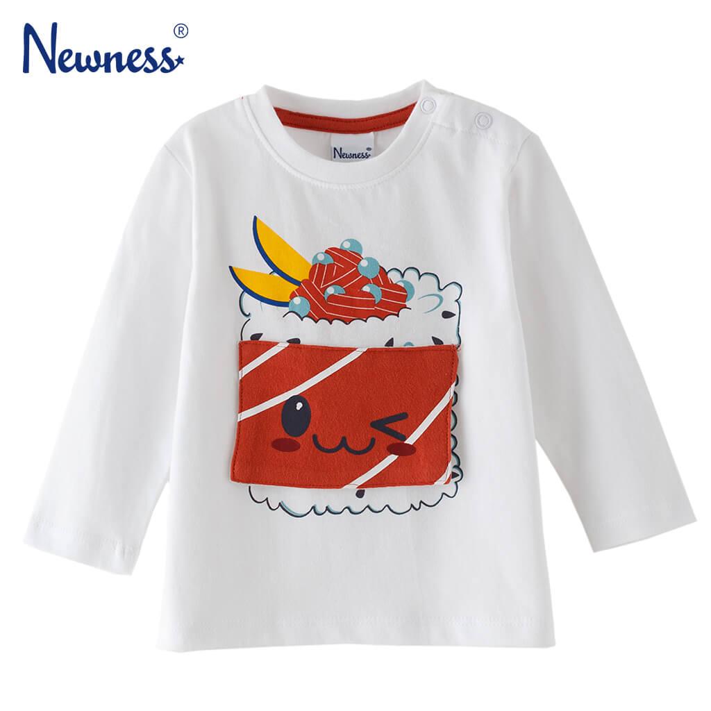 Бебешка блуза с дълги ръкави и суши капаче бяла