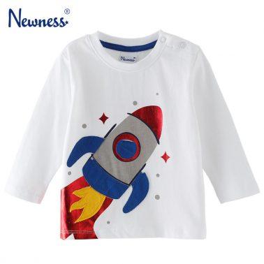Памучна бебешка блуза с дълги ръкави и апликация с ракета бяла