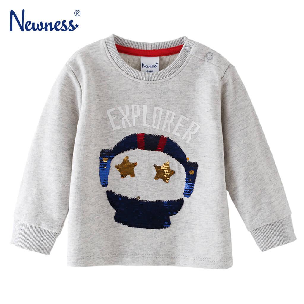 Бебешка блуза с апликация Изследовател с пайети сива