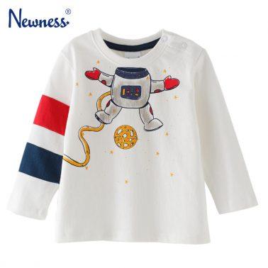 Бебешка памучна блуза с щампа с космонавт бяла