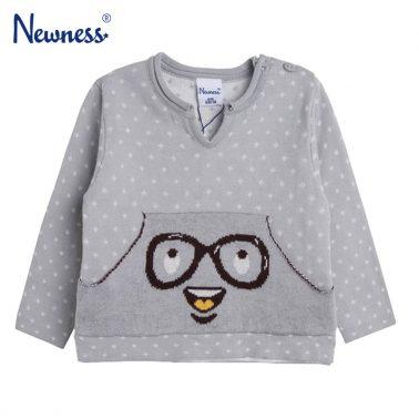 Бебешки пуловер фино плетиво с джоб отпред в сив цвят