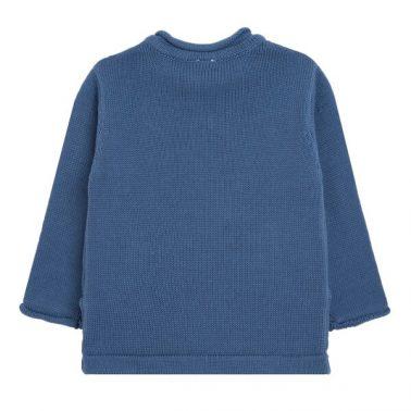 Бебешки зимен пуловер фина плетка в синьо