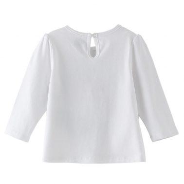 Бебешка блуза с цветна дъга от пайети бяла