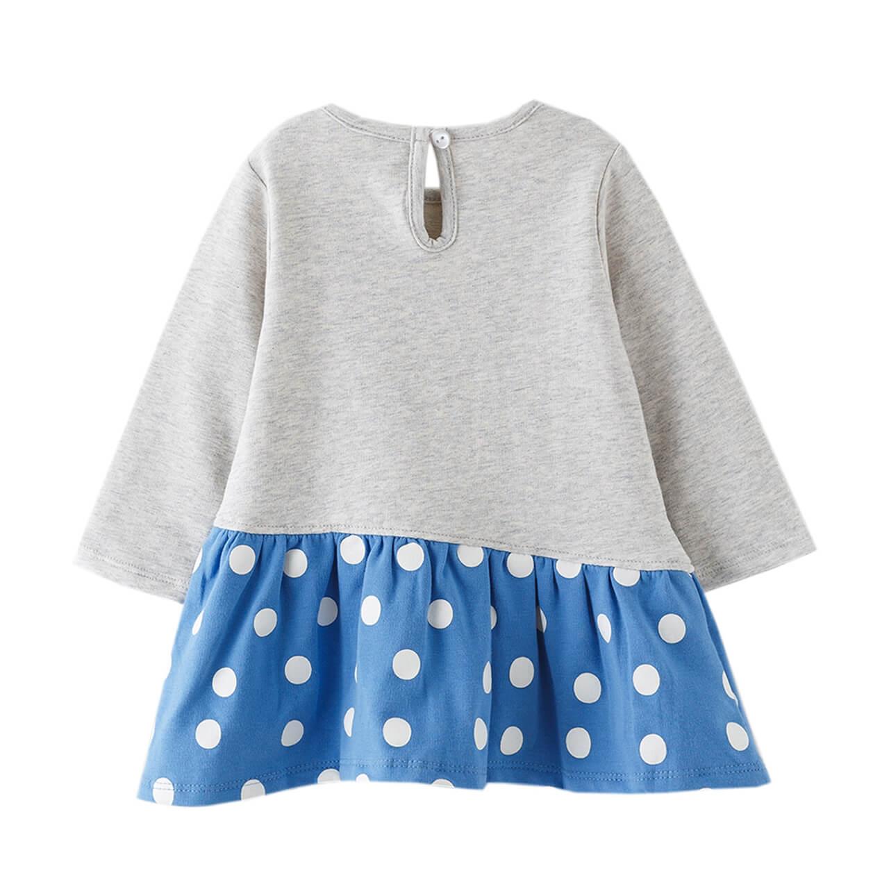 Бебешка рокля с дълги ръкави с принт чантичка в сиво