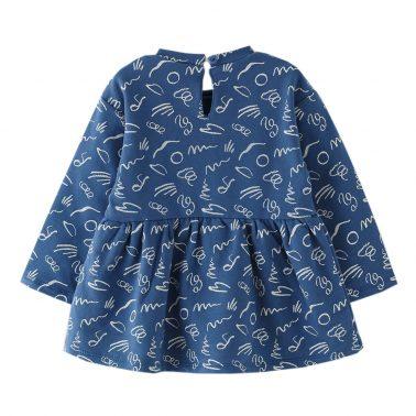 Бебешка рокля с дълги ръкави и апликация Be Happy синя