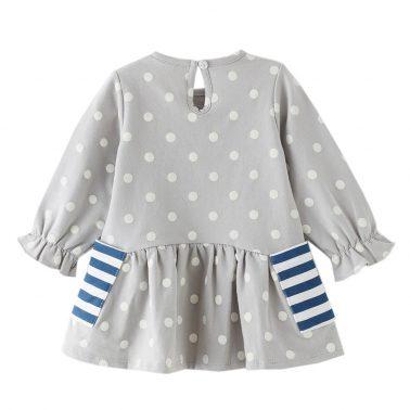 Бебешка рокля с дълги ръкави на точки в сиво