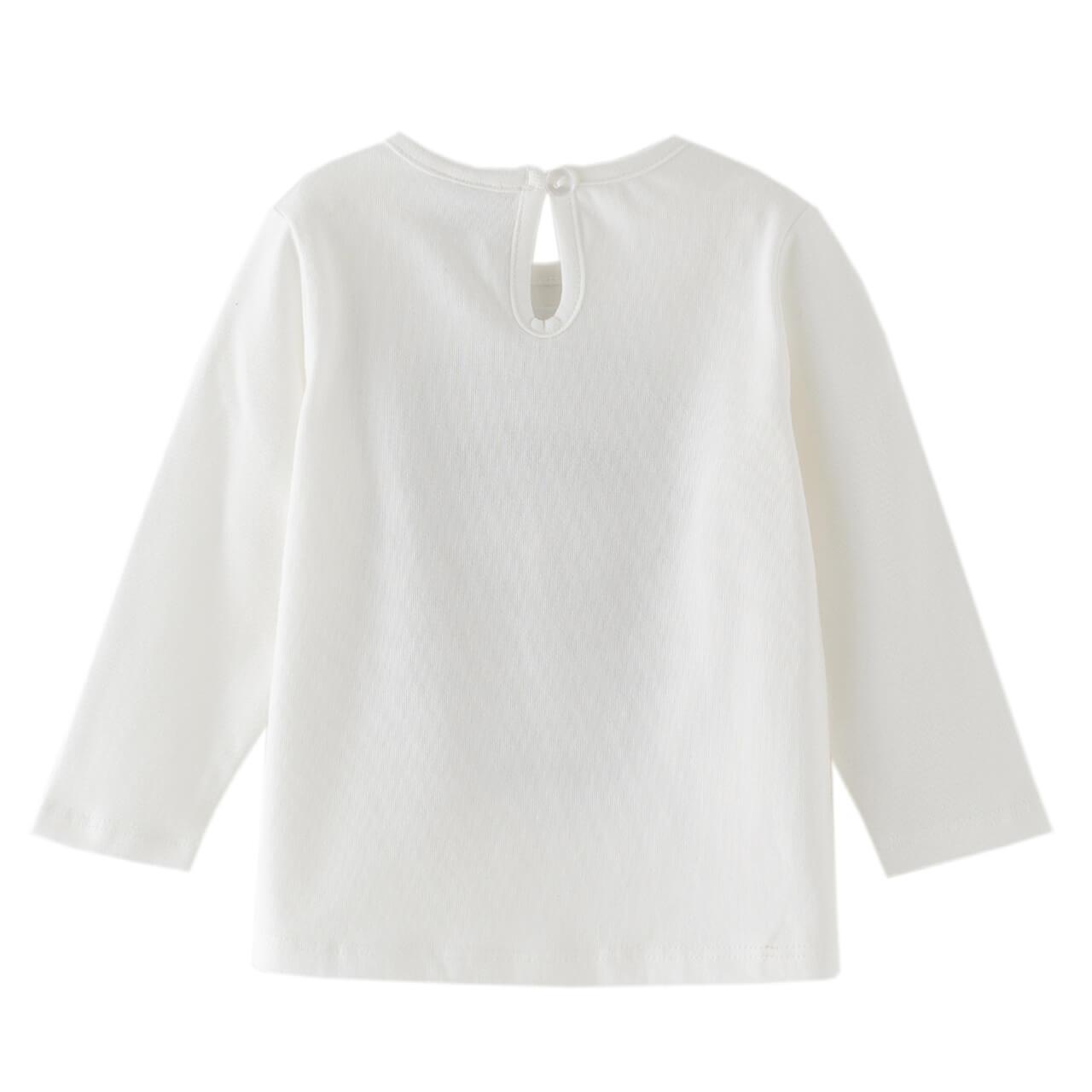 Бебешка памучна блуза с леопардова щампа бяла