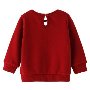 Бебешка ватирана блуза с апликция със сърце от обръщащи се пайети в червено