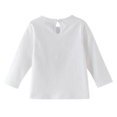Бебешка блуза с дълъг ръкав и калинка от пайети бяла