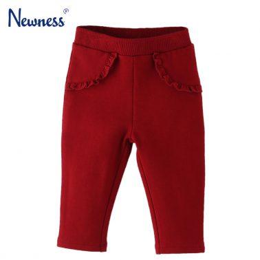 Бебешки еластичен панталон с къдрички в червено