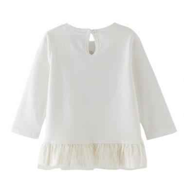 Бебешка блуза с волан и щампа със слонче в бял цвят