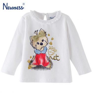 Бебешка блуза с дълги ръкави и щампа кученце с панделка бяла
