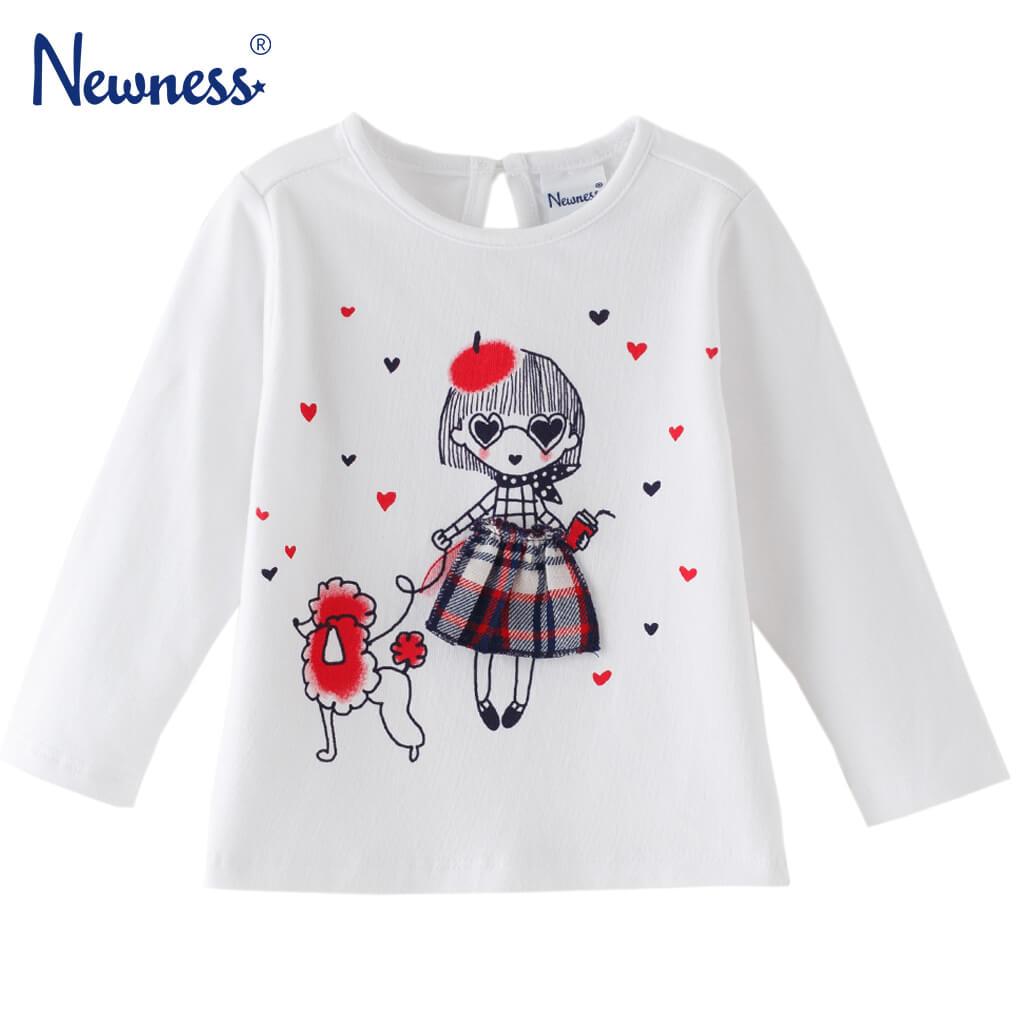 Бебешка блуза с дълги ръкави и щампа с момиченце с куче бяла