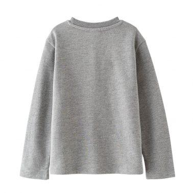 Детска блуза с дълги ръкави и апликация с пайети сива