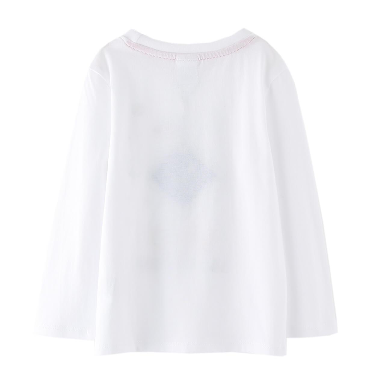 Детска блуза с дълги ръкави и щампа с НЛО бяла