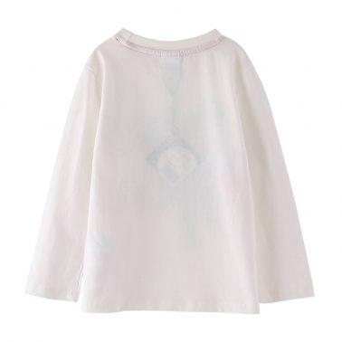 Детска блуза с дълги ръкави и щампа с динозавър бяла