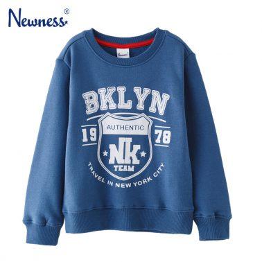 Детска ватирана блуза с щампа BKLYN тъмно синя