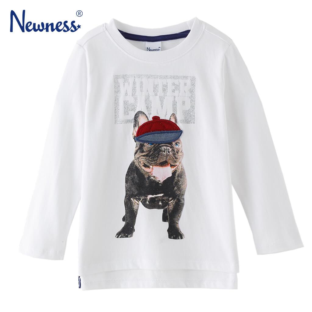 Детска блуза с дълги ръкави и апликация с куче бяла