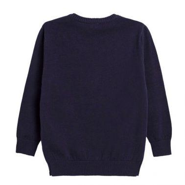 Елегантен детски пуловер с шпиц деколте в тъмно синьо