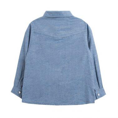 Елегантна детска бархетна риза в синьо