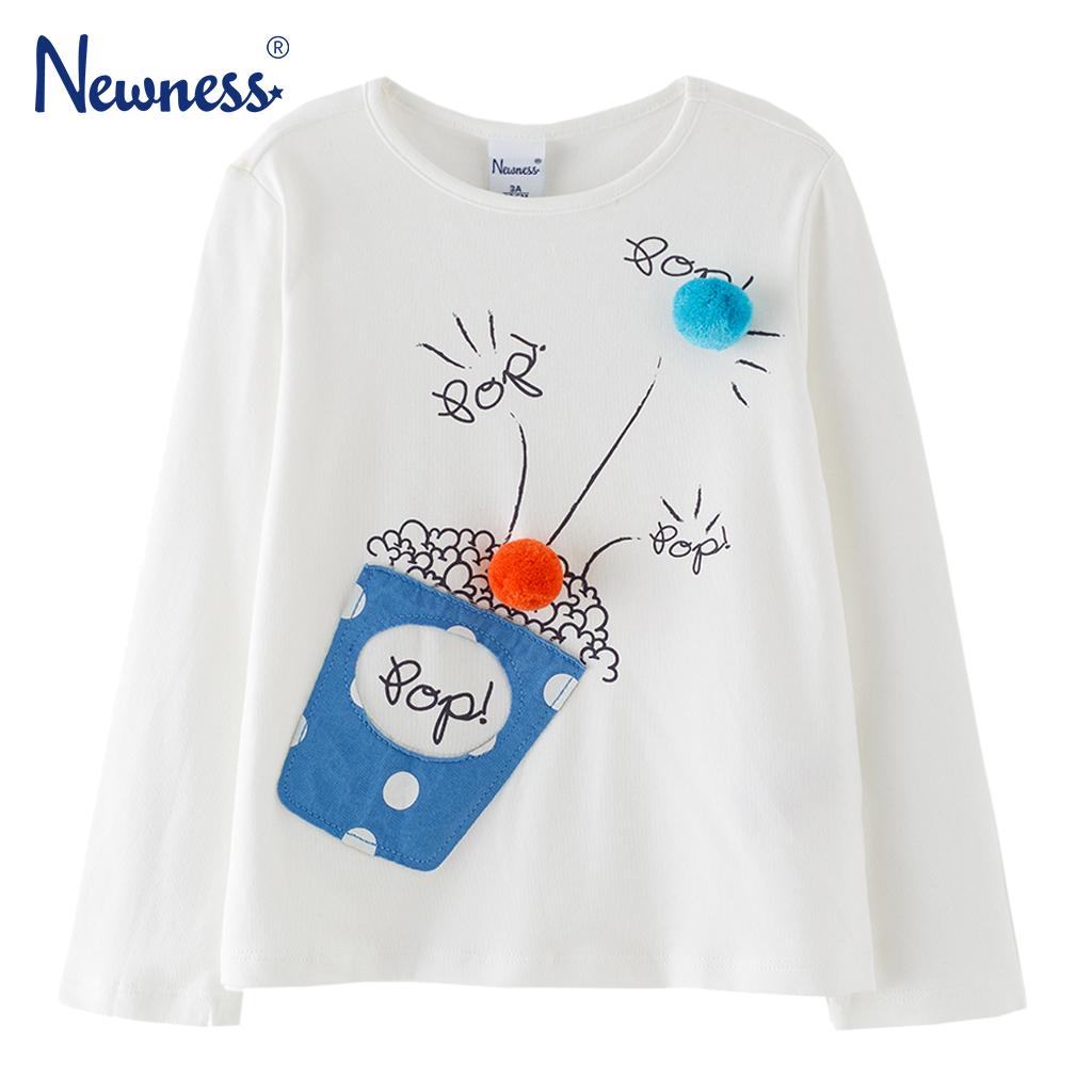 Детска блуза с принт с пуканки и цветни помпони бяла