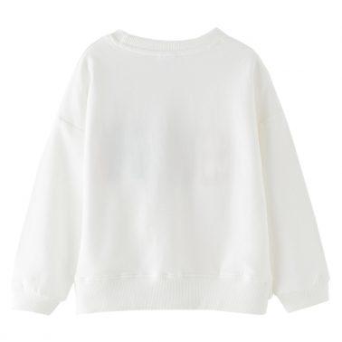 Детска блуза с пухкава апликация Sushi и панделка бяла