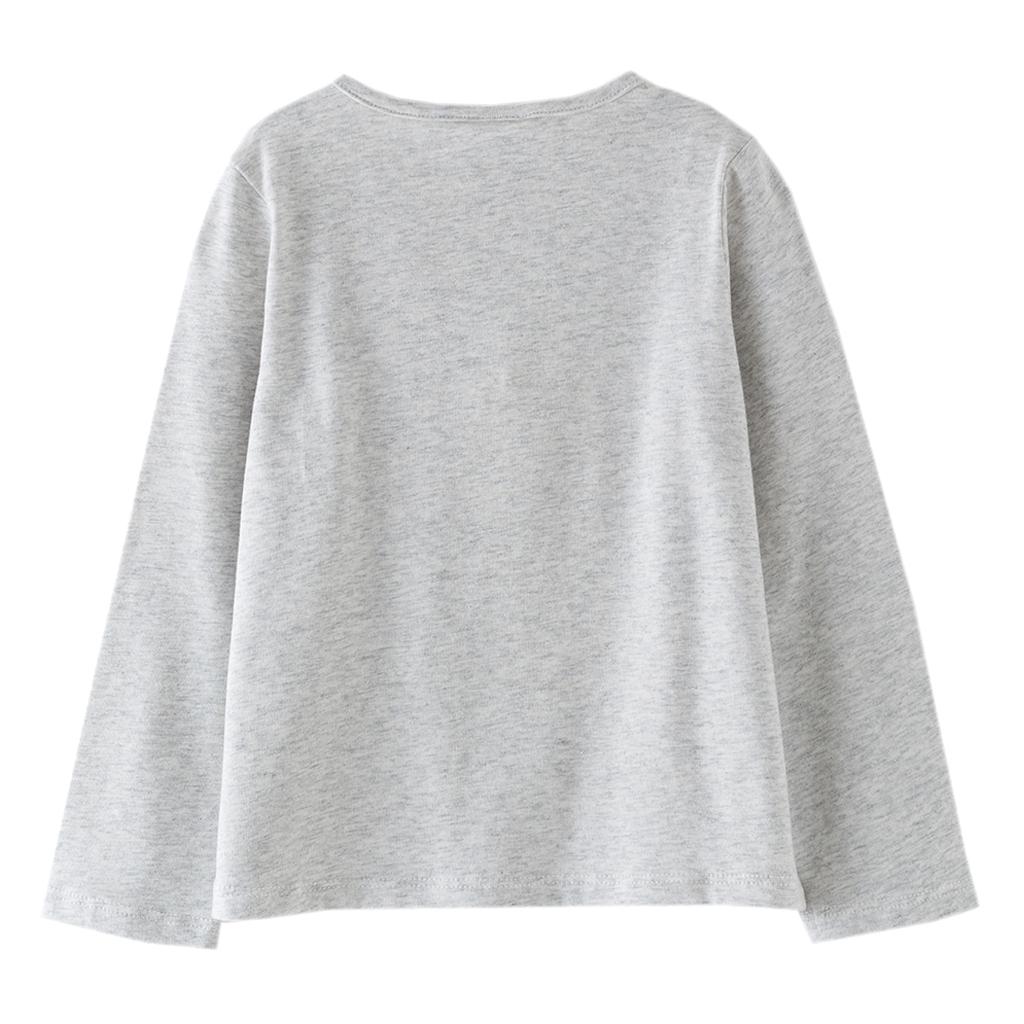 Детска блуза с японка с обръщащи се пайети сив цвят