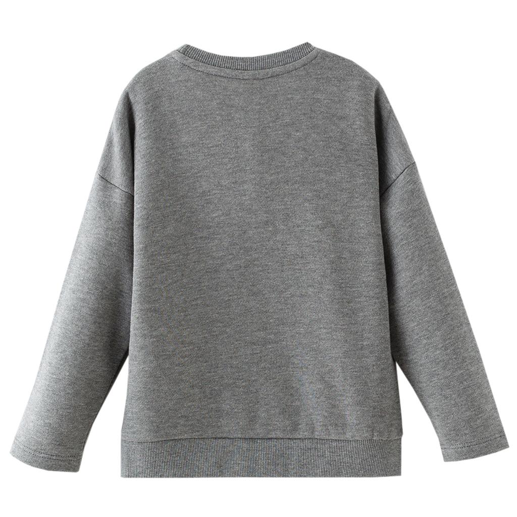 Ватирана детска блуза с пайети и тюл в сиво