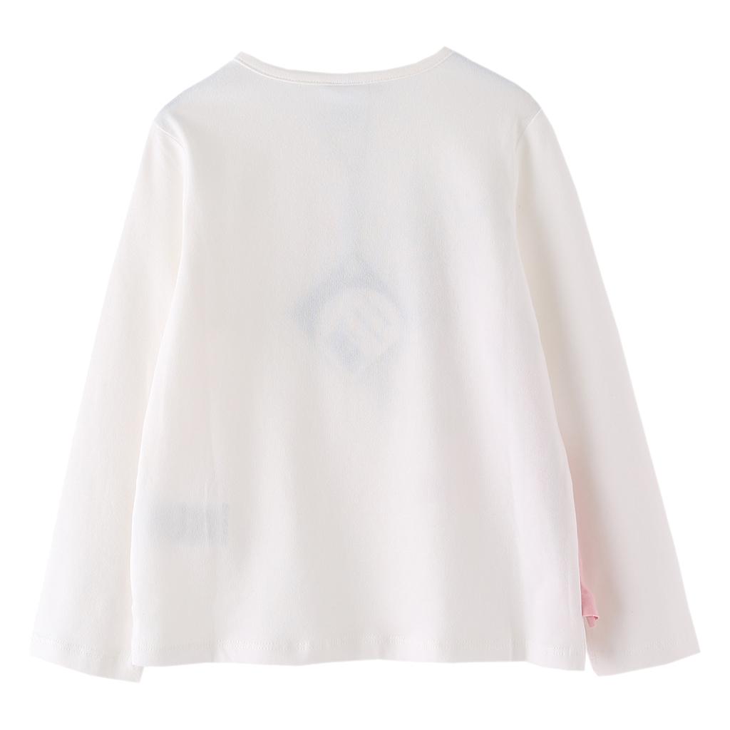 Детска блуза с дълги ръкави с принт фламинго и ресни бяла