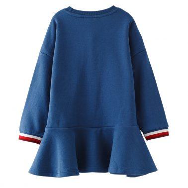 Спортна ватирана рокля от трико с джоб в синьо
