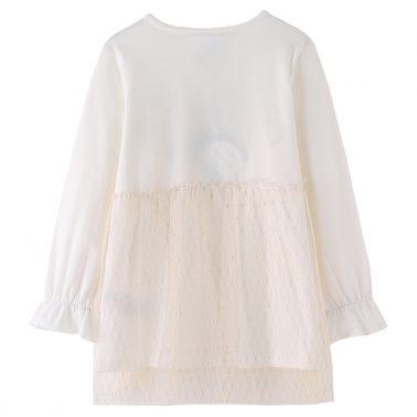 Спортно-елегантна детска рокля с надпис с брокат и тюлена пола бяла