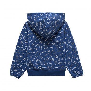 Детски ватиран  суитшърт с качулка с каракул в синьо